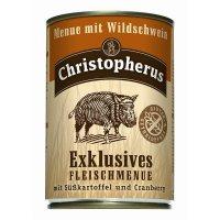 Nassfutter Christopherus Menue mit Wildschwein mit Süsskartoffel und Cranberry