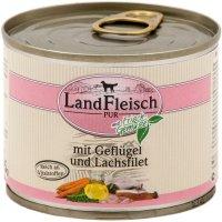 Nassfutter LandFleisch Pur Geflügel & Lachsfilet mit Biogemüse