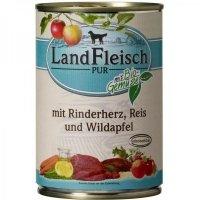 Nassfutter LandFleisch Pur Rinderherz, Reis & Wildapfel mit Biogemüse
