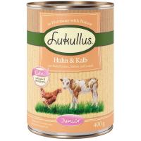 Nassfutter Lukullus Junior Huhn & Kalb mit Haferflocken, Möhre und Leinöl