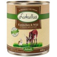 Nassfutter Lukullus Kaninchen & Wild mit Naturreis, Apfel und Leinöl