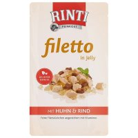 Nassfutter RINTI Filetto in Jelly Frischebeutel Huhn & Rind