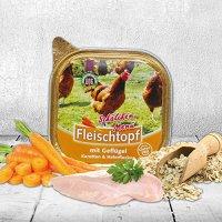 Nassfutter Schecker DOGREFORM Fleischtopf Schälchen-Menü mit Geflügel, Karotten und Haferflocken