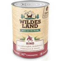 Nassfutter Wildes Land Rind mit Süßkartoffeln, Heidelbeeren, Wildkräutern und Distelöl