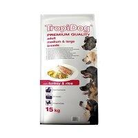 Trockenfutter TropiDog Premium Adult Medium & Large Breeds - with Turkey & Rice